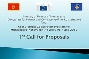 The 1st Call for Proposals for the IPA Cross-border Programme Montenegro-Kosovo 2014-2020 published